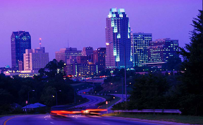 Image of downtown Raleigh, NC at night