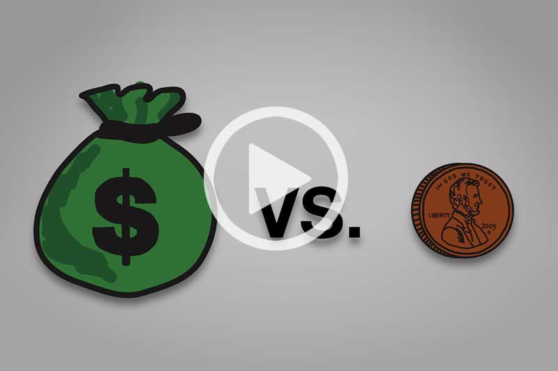 click on image of money bag and penny to watch video in modal about $1 Million vs. 1¢