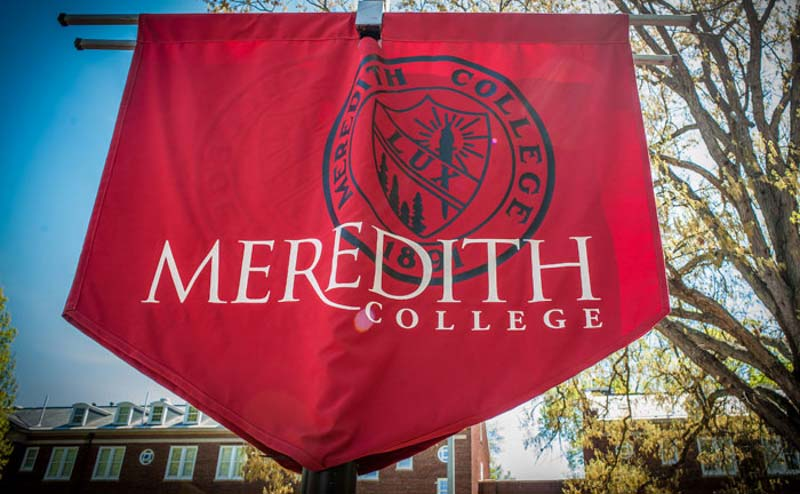 Meredith College banner with words Meredith College in white on a maroon background.