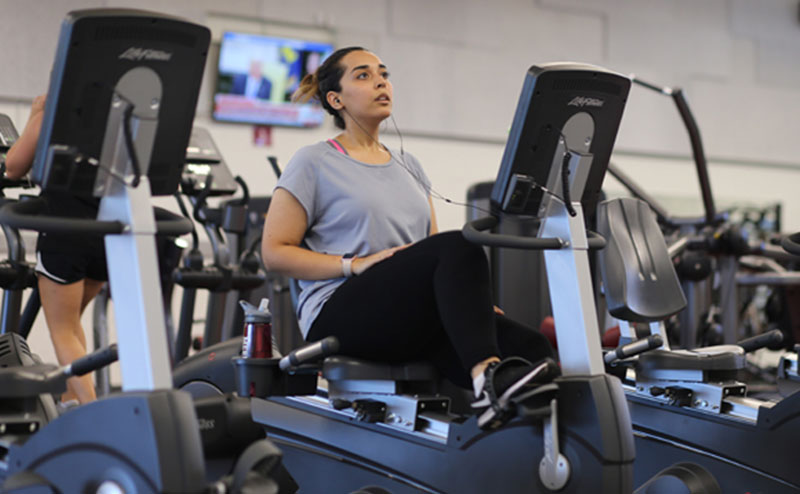 A Meredith student in the Lowery Fitness Center