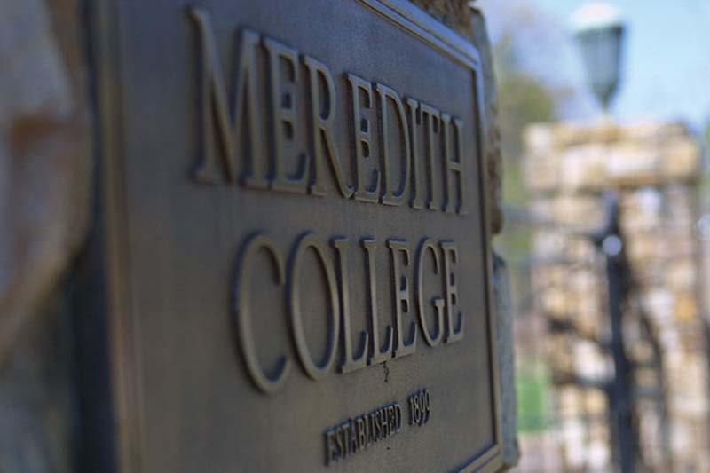 Meredith College Sign on Stone Gate Column
