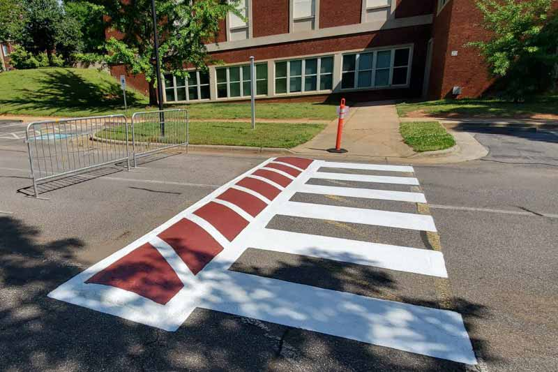 Painted Speed Bumps and Crosswalks on Main Campus Drive
