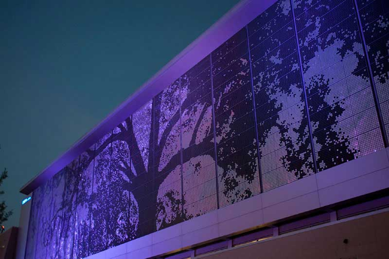 image of shimmer wall in downtown Raleigh