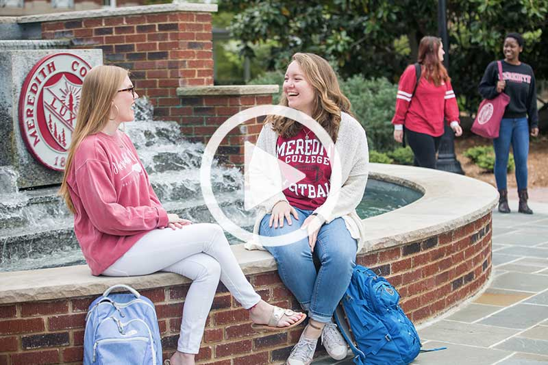 Click on photo of students at front fountain to play video in modal