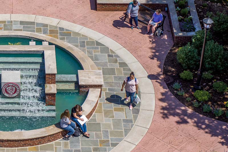 Aerial view of students at Beam fountain