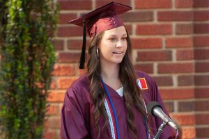 Class President Lindsey Lewis speaking at the 2021 Commencement ceremony