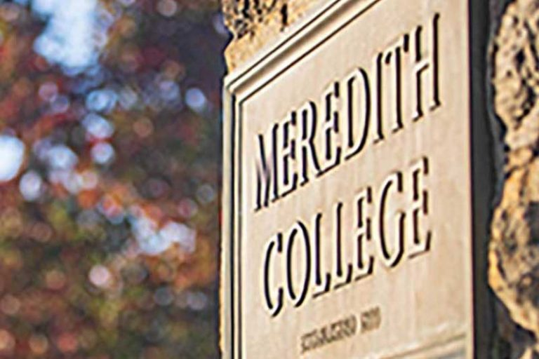 Meredith College Sign on Stone Column