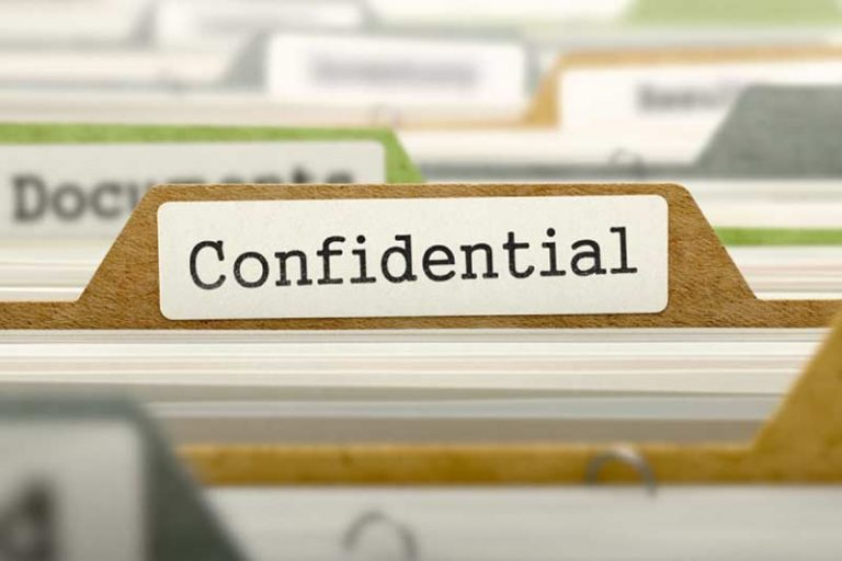 Folder with words confidential