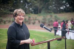 President Jo Allen Speaking at Lake Dedication